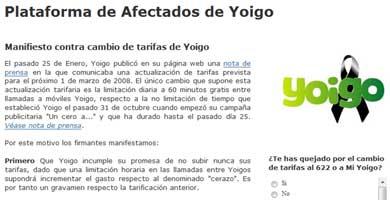 Rebelión contra Yoigo en Internet