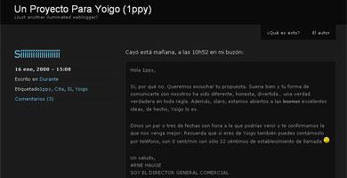 Escribe un blog para que Yoigo le compre un proyecto