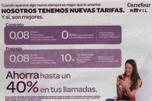 Carrefour móvil se sube al carro de las tarifas del 8
