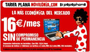 Movilonia.com y Pepephone lanzan una tarifa plana de Internet por 16euros