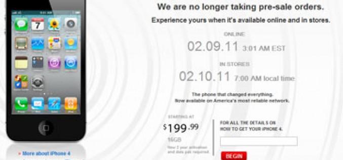 Verizon agota en un día el stock de iPhone 4 destinado a pre-reservas