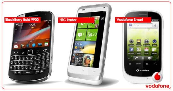 BlackBerry Bold 990, HTC Radar y Vodafone Smart
