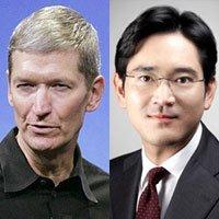 Tim Cook, CEO de Apple y Lee Jae-Yong, CCO de Samsung