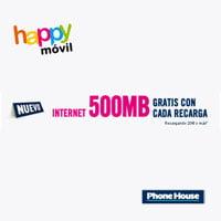Happy Móvil regala 500MB con recargas de 20 euros o más