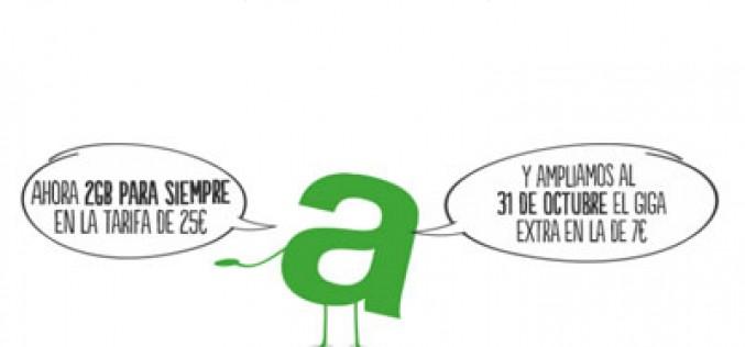 Amena amplía a 2GB la capacidad de su tarifa de voz y datos