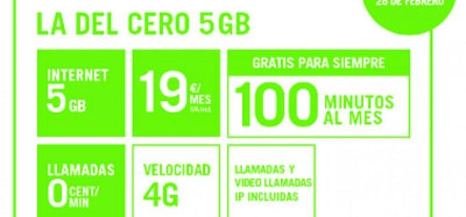 La del cero 5GB de Yoigo suma 100 minutos gratis