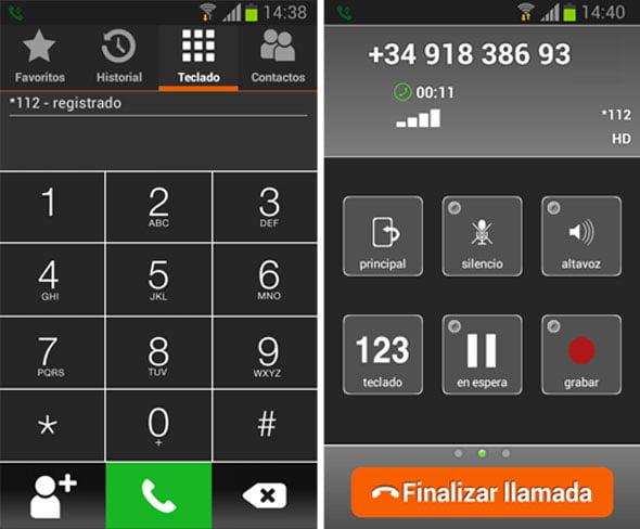 La aplicación de Softphone