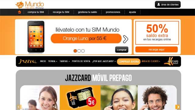 Mientras que en la web de Mundo (arriba) no hay presencia de la marca Orange, en la de Jazzcard la enseña Jazztel goza de un peso considerable