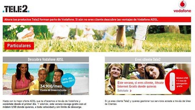 Así lucía la web de Tele2 tras su integración en Vodafone