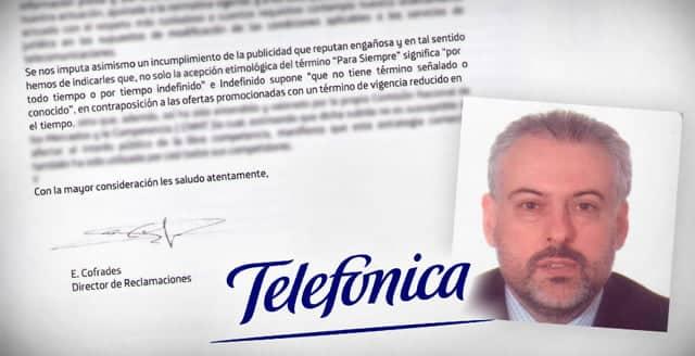 Extracto de la carta enviada por Movistar a Facua. Imagen: Facua