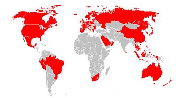 Mapa de roaming 4G con Vodafone