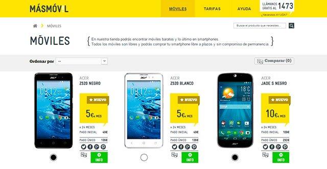 smartphones en la tienda online de Masmóvil