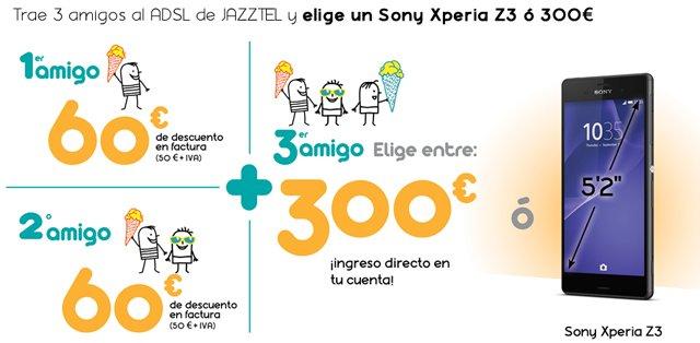 El renovado Plan Amigo de Jazztel permite al padrino de turno elegir entre 300 euros o un Sony Xperia Z3 una vez ha llevado a 3 amigos a la cartera de clientes del operador.