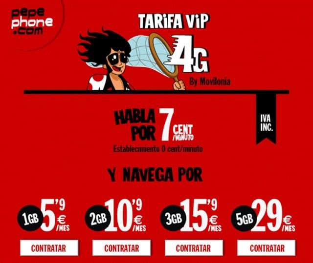 La tarifa NUEVEga y llama de Pepephone, que comercializa Movilonia.com en exclusiva, ahora se llama VIP 4G y baja el precio por minuto a 7 céntimos.