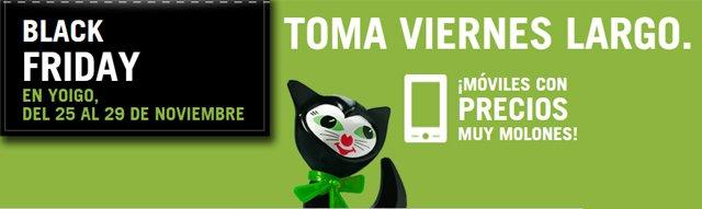 Yoigo mantiene su particular estilo para promocionar su participación en el Black Friday.