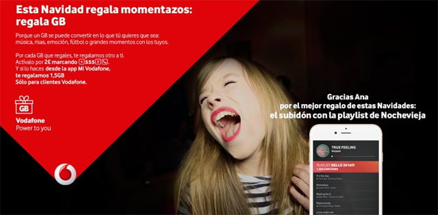 regalar datos con Vodafone