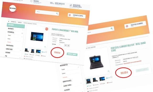 precios de Prixton W10 Intel y Prixton PC03 W10