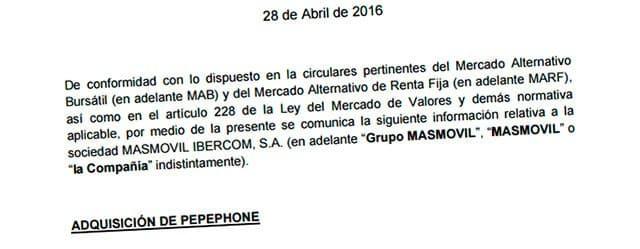 comunicado de Masmóvil compra Pepephone