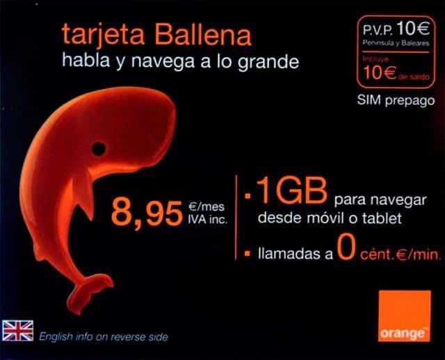 tarjeta prepago Ballena Orange