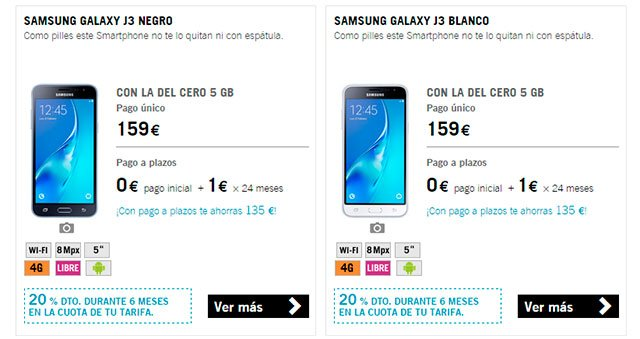 Samsung Galaxy J3 con Yoigo