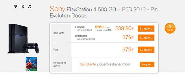 Sony PlayStation 4 con Orange