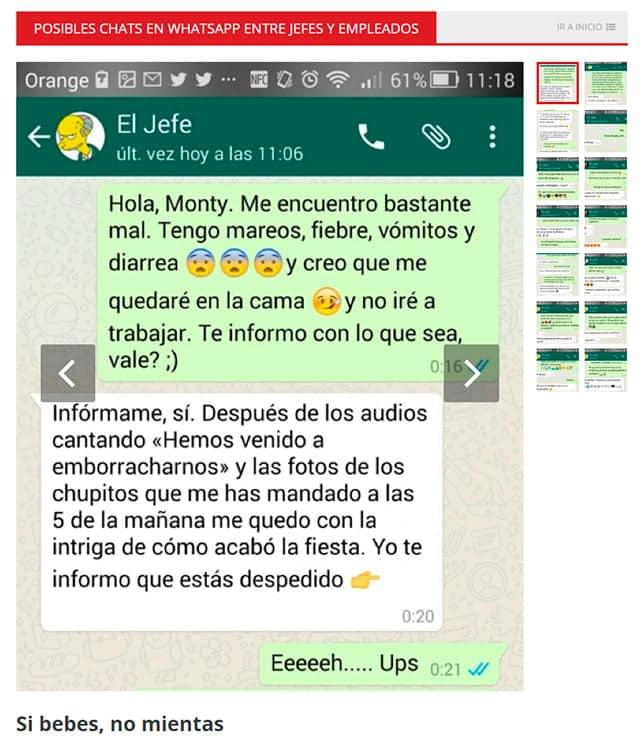 chats de WhatsApp entre jefes y empleados