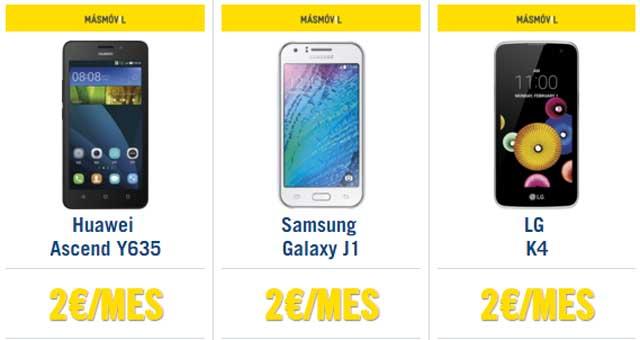 smartphones de Masmóvil por 2 euros al mes