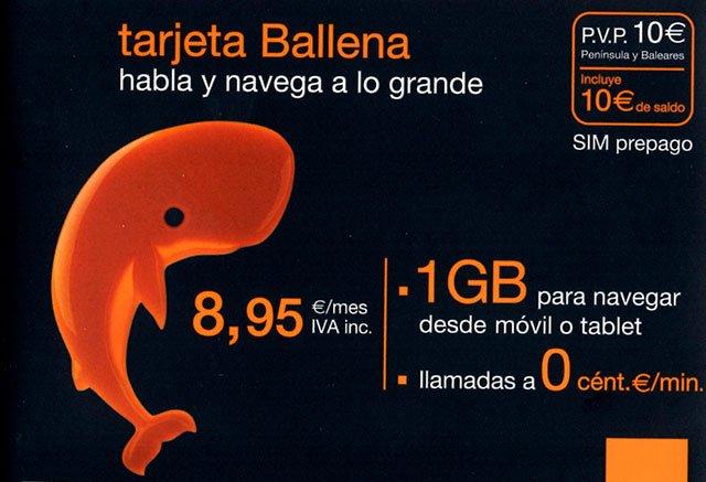 tarjeta prepago Ballena de Orange