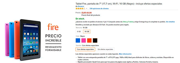 tablet Amazon Fire de 7 pulgadas