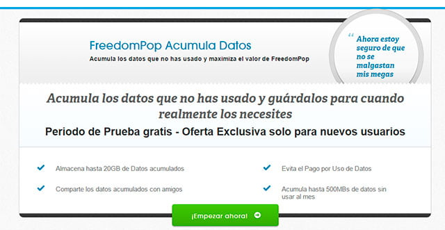 FreedomPop acumula datos