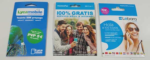 Packaging de Lebara Móvil, FreedomPop y Lycamobile