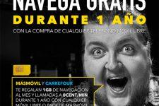 Masmóvil regala 1GB al mes durante un año comprando un smartphone en Carrefour