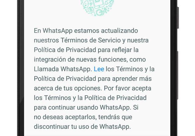 Términos y política de privacidad de WhatsApp