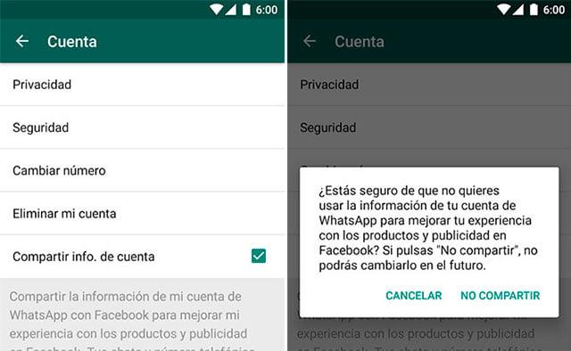 desvincular y vincular WhatsApp y Facebook