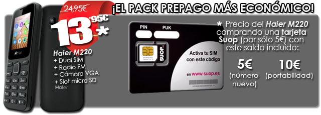 pack prepago de Suop con Haier M220 y hasta 10€ de saldo