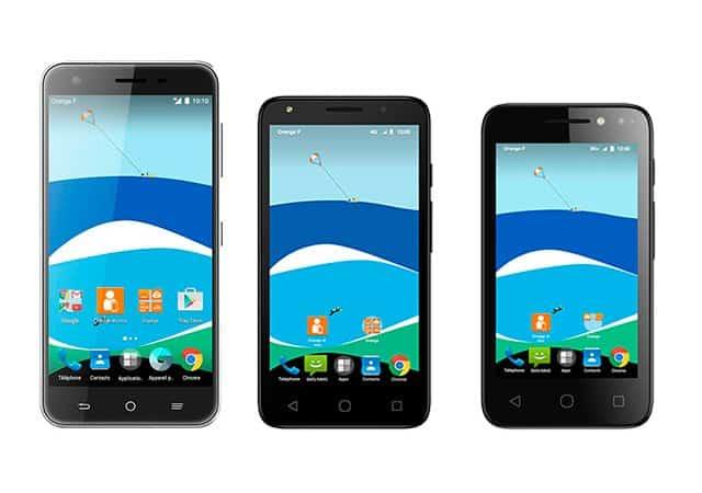 Los tres smartphones de Orange no presentan novedades significativas.
