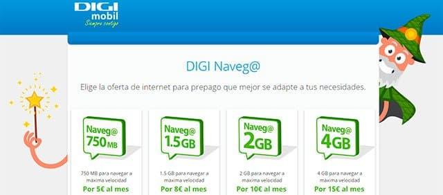 DIGI Naveg@ DIGI mobil (bonos de Internet móvil)