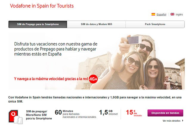 Vodafone in Spain for Tourists