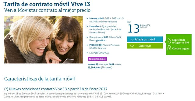 Tarifa Movistar Vive 13