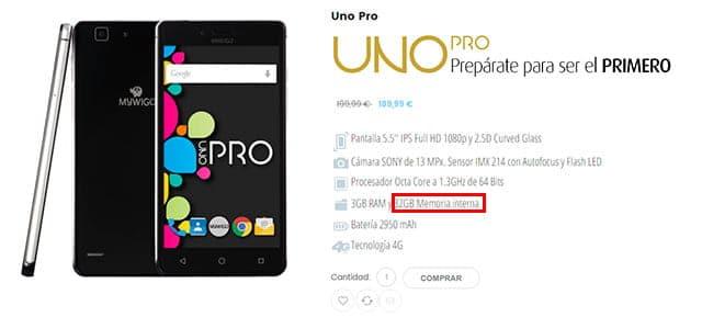 MyWigo UNO Pro con 32GB de memoria interna