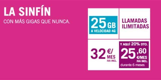 tarifa SinFín 25GB de Yoigo
