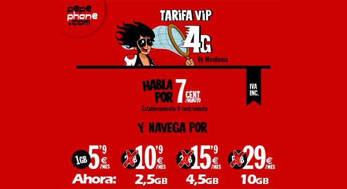 nueva tarifa VIP 4G de Pepephone