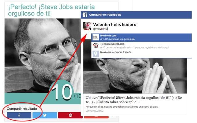 compartir resultado en Facebook