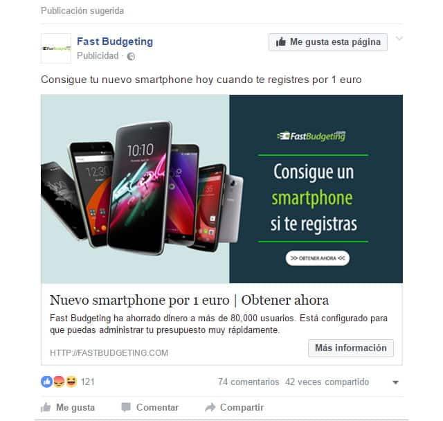 anunico de Fast Budgeting en Facebook