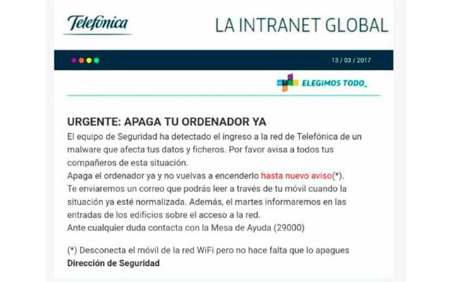 aviso intranet de Telefónica