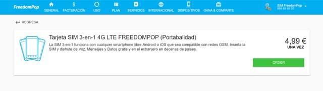 cambio de SIM de FeeedomPop