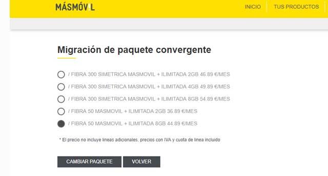nuevas tarifas de Masmóvil para su cartera de clientes
