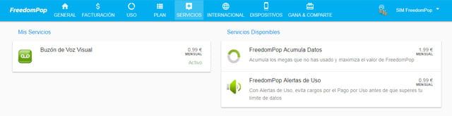 servicios premium de FreedomPop