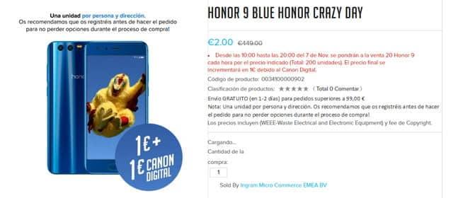 Honor 9 por 2 euros