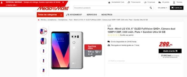 LG V30 por 299 euros en Media Markt